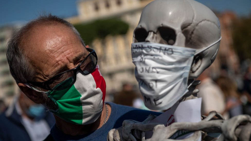 Denial protests in Rome over the coronavirus pandemic.