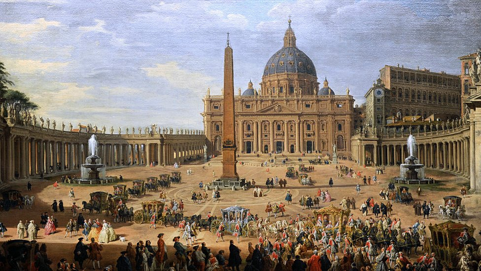 A 17th-century painting of Saint Peter's Square in the Vatican.