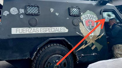 The armored vehicles were hit by several bullets
