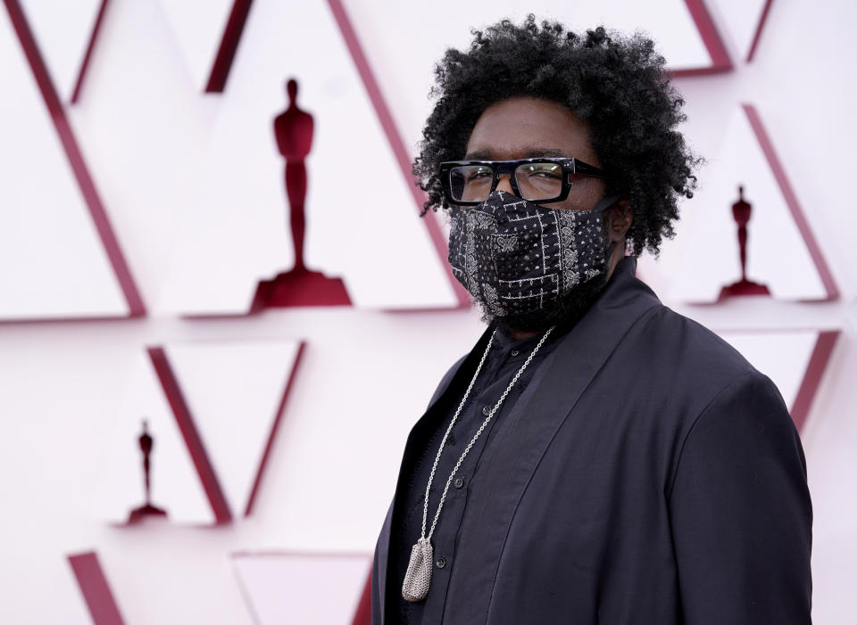 Questlove arrives at the Oscars on Sunday, April 25, 2021 at Union Station in Los Angeles.  (AP Photo / Chris Pizzello, Pool)