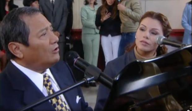 Armando Manzanero and Olga Tanion.  (Photo: RCN TV)