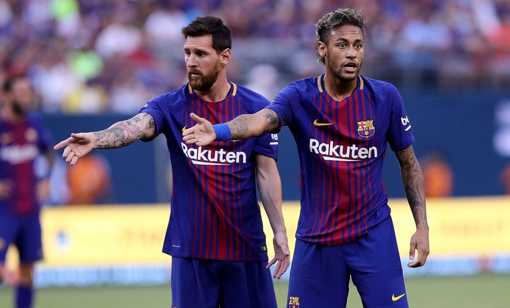 Leo Messi y Neymar en un partido del Barça en pretemporada