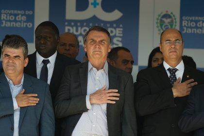 09/04/2020 President of Brazil Jair Bolsonaro and dismissed Governor of Rio de Janeiro Wilson Witzel.  POLICY SOUTH AMERICA BRAZIL LATIN AMERICA INTERNATIONAL OR GLOBE / ZUMA PRESS / CONTACTOPHOTO