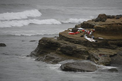 Items from a wrecked boat off the coast of San Diego.  (AP Photo / Denise Borai)