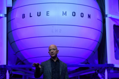 File source: Jeff Bezos, founder and CEO of Amazon, unveiled the missile from his Blue Origin lunar lander at an event in Washington, USA.  May 9, 2019. (Reuters) / Klodag Kilcoin