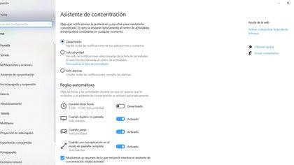 Focus Assistant in Windows 10