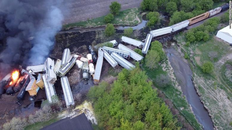 Evacuation as derailed train cars explode in Iowa