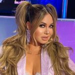 Chicas Rivera shows off her curves in a matching coffee dress, styled by Kim Kardashian