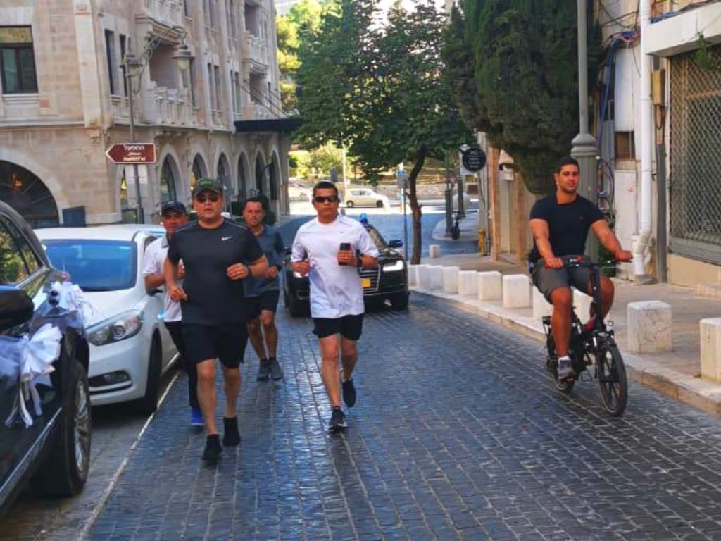 President Hernandez trains on the streets of Jerusalem
