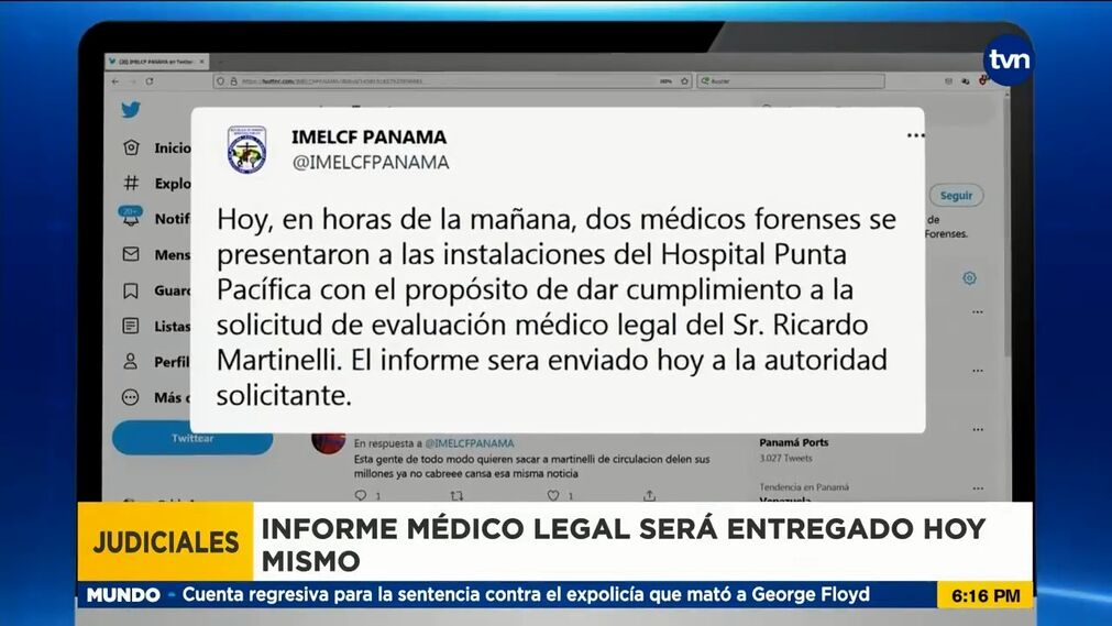 The Department of Forensic Medicine complies with the medical evaluation of former President Martinelli