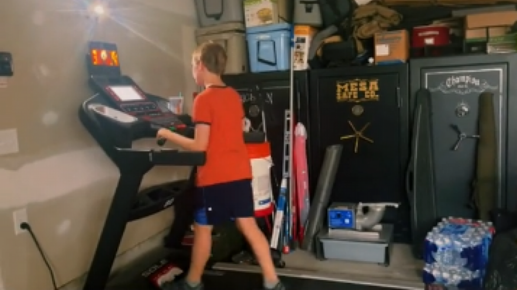 A mother admits that she does not allow her children to watch TV unless they exercise on a treadmill