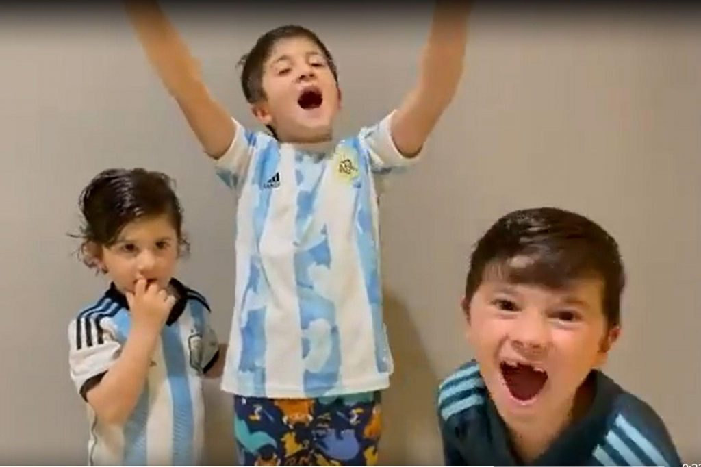 A video of Messi's children in a joyful celebration of the title