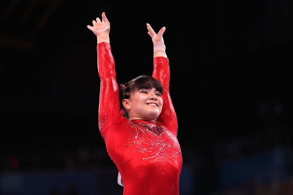 TOKYO, JAPAN - AUGUST 01: Alexa Moreno of Team Mexico competes in the women's vaulting final on day 9 of the Tokyo 2020 Olympics at Ariake Gymnastics Center on August 1, 2021 in Tokyo, Japan.  (Photo by Lawrence Griffith/Getty Images)