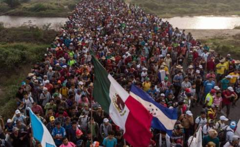 The Central American immigrant caravan travels from Mexico to the United States