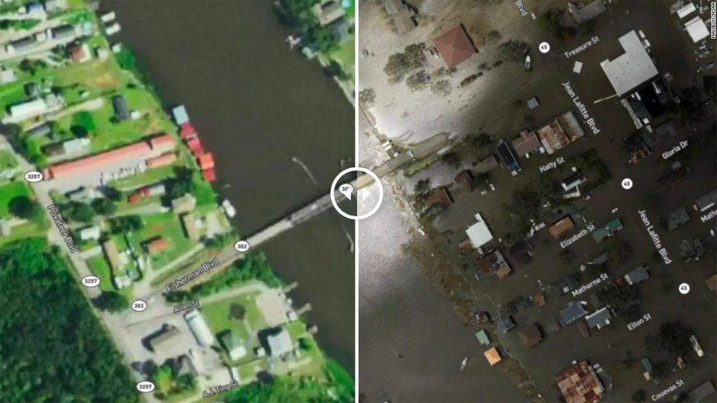 Satellite images show the passage of Hurricane Ida in Louisiana